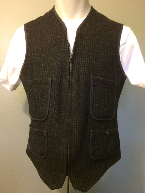 Vtg 70s Woolrich Black Wool Vest Mens M 40 Work Wear Utility Zip Up Buckle Back