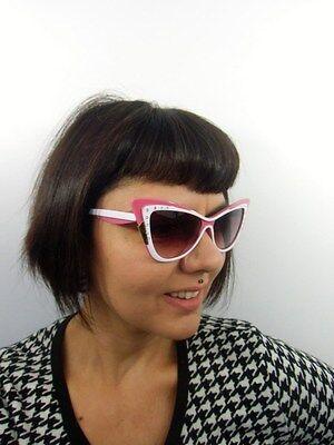 Sonnenbrille papillon cats eyes design retro zweifarbig rosa schwarz strass