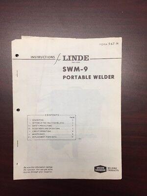 Vintage Linde Union Carbide Swm-9 Portable Welder Manual