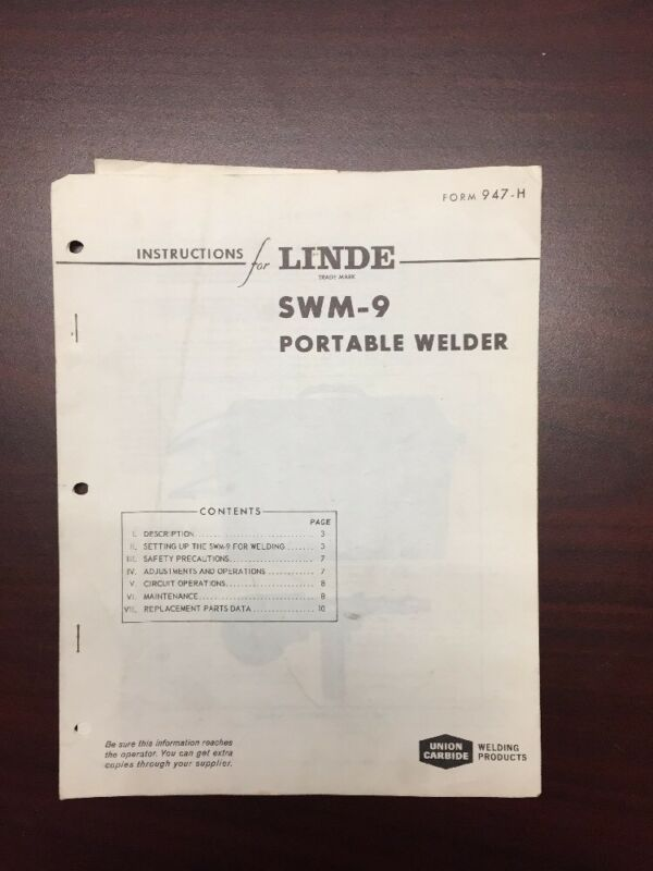 Vintage Linde Union Carbide Swm-9 Portable Welder Manual