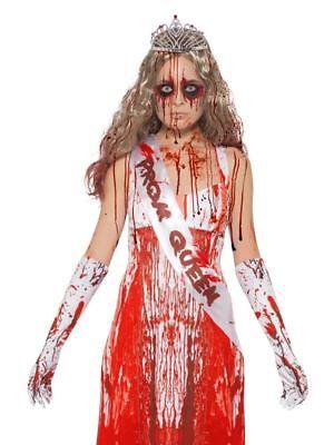 Blutig Prom Queen Set, Carrie, Schärpe, Handschuhe & Tiara, Halloween - Prom Queen Schärpe Kostüm