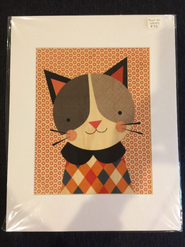 Petit Collage Unframed Matted Print on Wood Wall Decor, Hip Cat Large