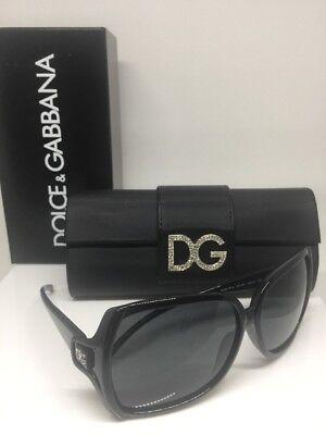 New Authentic Dolce & Gabbana DG 6018B Sunglasses C. Black With DG Rhinestones