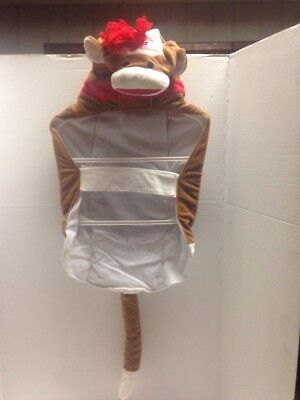 Pet Halloween Dog  Costume  Brown Red Hooded SOCK MONKEY  Lg, & XLg NWT - Sock Monkey Dog Halloween Costume