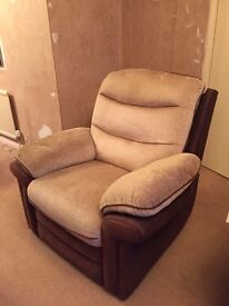 2 Reclining Chairs. Cream & Brown. 1 electric, 1 manual