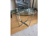Round Glass Side Table Small Coffee Table with Chrome Legs Dia 60cm NEW