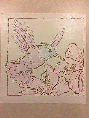 Vintage T-shirt Heat Transfer Hummingbird With Flower