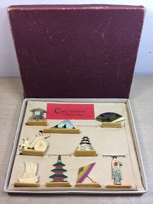 9 Vintage Japanese Theme Celluloid Place Card Holders in the Original Box - The Place Card