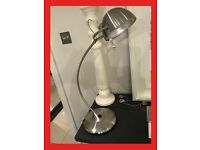 NEW CHELSOM Designer Satin Silver Chrome Metal Desk Lamps Bedside Table Designer Style RRP £365