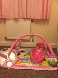Baby girl bundle playmat bath seat and top and tail bow