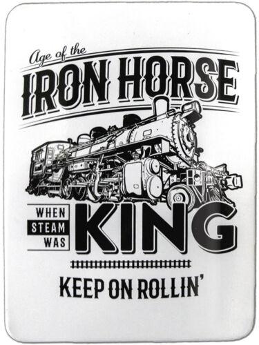 IRON HORSE Railroad LOCOMOTIVE Train Engine WHEN STEAM was KING Tin MAGNET