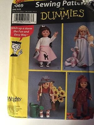 """Doll Clothes Pattern 18"""" Simplicity 7069 Sewing Patterns for Dummies NIP"""