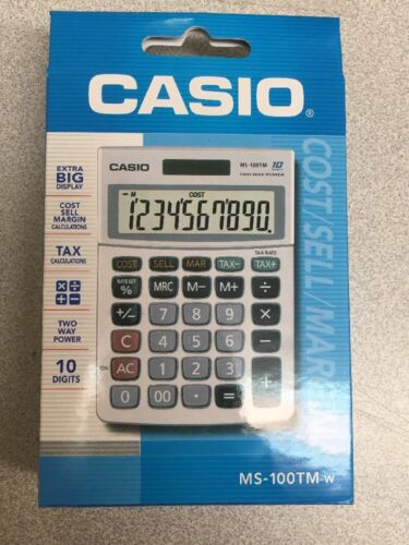 NEW Casio MS-100TM Electronic Calculator TAX COST SELL MARGIN Calc 10-Digit LCD