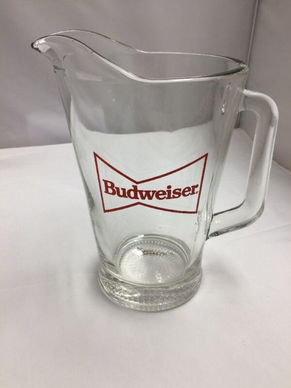 BUDWEISER GLASS PITCHER BOWTIE LOGO
