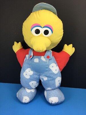 "1996 Tyco Baby Big Bird 15"" Plush Blue ABC Overalls Baseball Cap Stuffed Animal"