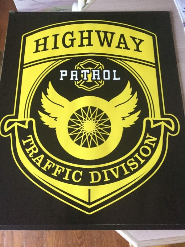 Rare Police Department Poster Highway Patrol Traffic Division Sign  Officer