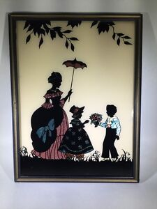 Vtg Genuine Butterfly Wing Picture Art Deco Woman W/ Umbrella Child Boy Girl A6