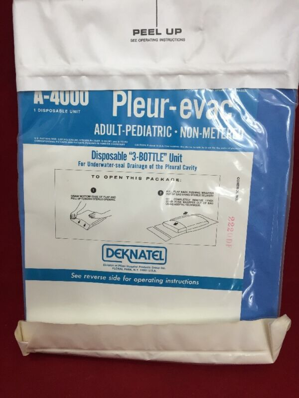 One New Deknatel A-4000 Pleur-evac Adult Pediatric Chest Drainage System