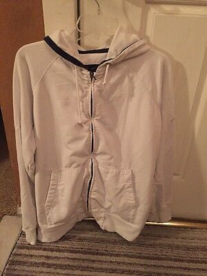 USED Mens Nautica Jeans Co. Hoodie White Size Large Sweater Zipper Luxury Rich