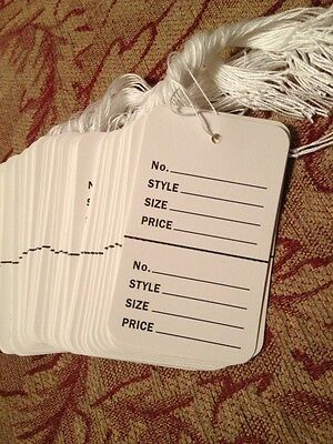100 Lot Large Price Tags Retail Store White Perforated Strung 1-34x2-78 Coupon
