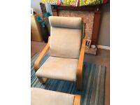 Ikea Poang chair and matching foot stool in great condition