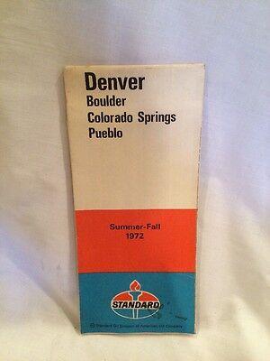 1972 Summer Standard Oil Denver/Boulder/Colorado Springs/Pueblo Vintage Road Map