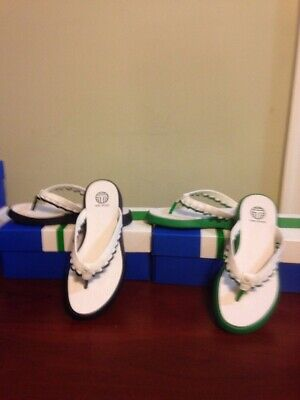 New In Box Tory Burch Sport Ruffle Thong Sandal Blue Or Green Size 7 8 9 NEW