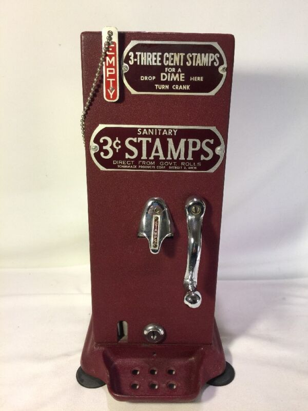 Vintage Authentic US Postal Service Clear Glass Hand Crank 3cent Stamp Dispenser