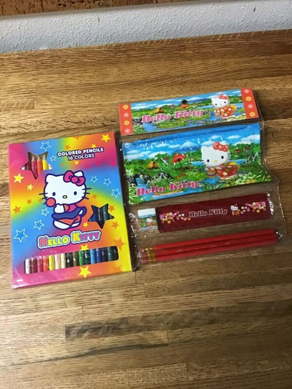 Lot Of Hello Kitty Colored Pencils Etc.  New Box of 16 Special Sanrio Colors