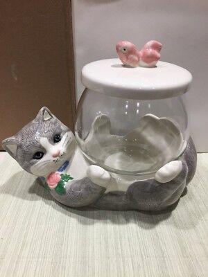 Vintage Treasure Craft Gray Kitten Cat Cookie Jar holding Fish Bowl