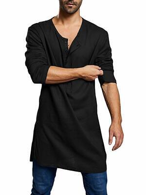 Mens Abaya Thobe Henley Shirts Arabic Linen Long Sleeve Loose Fit Kaftan Tees Sp