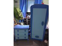 Blue Ikea kids wardrobe and drawers
