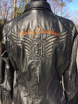 Harley Davidson PAXTON Women's  Black Leather Jacket 97174-14VW