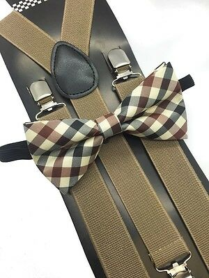 Maroon Plaid Bow Tie & Tan Suspender Matching Set Tuxedo Wedding Accessories