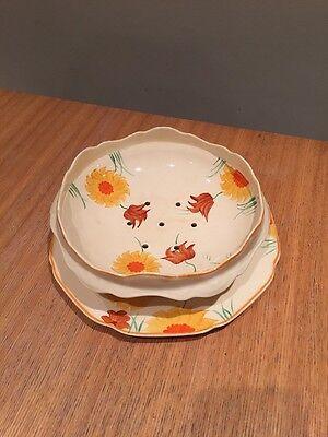 Crown Ducal Salad Drainer & Plate Floral Pattern Vintage Art Deco