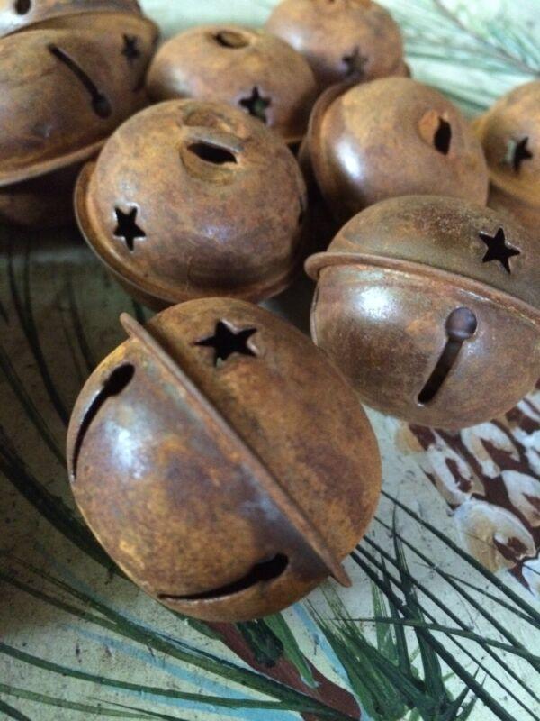 "SET/12 JINGLE BELLS 1.5"" 1 1/2 in Primitive Rusty Tin 38-40mm Christmas Crafts"