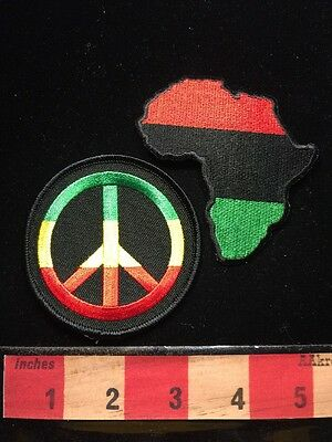 PAN-AFRICAN AFRICA NATIONS CONTINENT / COUNTRIES Patch + PEACE SIGN SYMBOL 67WP