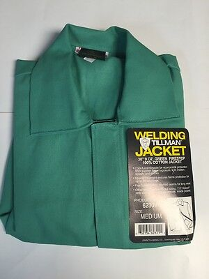 Tillman 6230v-m 30 9oz Green Fr Cotton Welding Jacket Medium