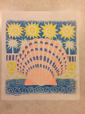 Vintage T-shirt Heat Transfer Nautical Seashore Theme Shell Sun And Palm Tree