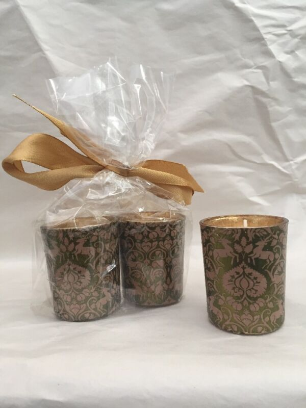 3 Hand-Applied Renaissance / Christmas Themed Gold Votive Candle TeaLight Stag
