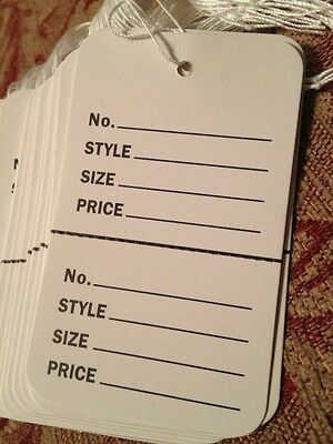 500 Large Price Tags Wstrings White Perforated Strung 1-34x2-78 Coupon Tag