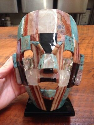 Mayan Death Mask Turquoise Mother of Pearl Onyx Abalone Burial Mosaic Sculpture for sale  Luray