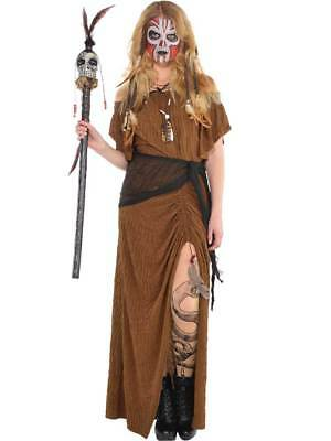 Womens Witch Doctor Fancy Dress Costume Halloween Voodoo Magic Adults Ladies (Halloween Costume Witch Doctor)