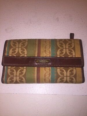 Color Stripes Snap ( FOSSIL Multi*color Floral w/ Stripes/Green Trim Leather w/Snap Envelope Wallet)