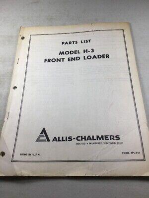 Allis Chalmers Model H-3 Front End Loader Parts Manual