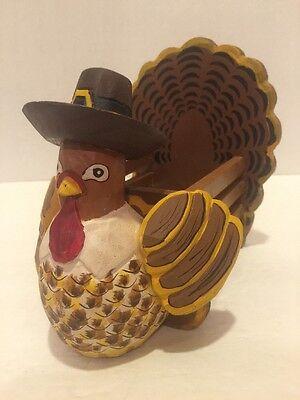 TERRY'S VILLAGE Decor Turkey Salt and Pepper Holder Turkey Basket Hand Painted!](Terrys Village Halloween)