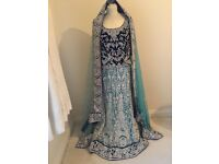 Bridal royal and sky blue lengha
