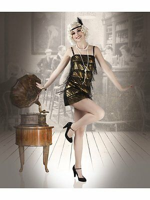 Cabaret Brenda Charlston Kleid Kostüm Party Silvester Damen Gold Fransen 83510