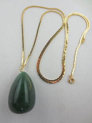 Goldtone Jade Gemstone Large Pendant
