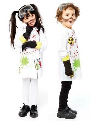 Childs Mad Zombie Scientist New Fancy Dress Costume Crazy Doctor Kids Girls Boys
